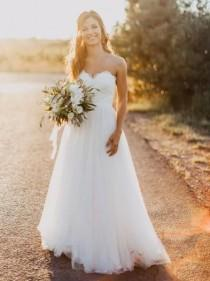 wedding photo - A-line Strapless Sweetheart Neck Lace Up Sweep Train Bridal Wedding Dress