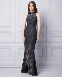 wedding photo - Lace Mock Neck Gown