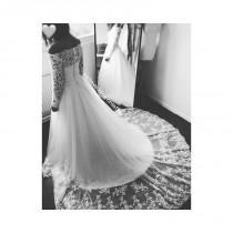 wedding photo - Boat neck long sleeves lace wedding dress with pearl handmade - Hand-made Beautiful Dresses