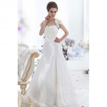 wedding photo - Modest A-Line Sweetheart Court Train Taffeta Wedding Dress CWLT1305C - Top Designer Wedding Online-Shop