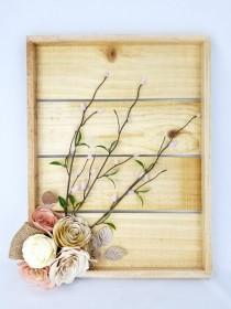 wedding photo -  Rustic floral decor - Cottage chic wall decor - 3D Flower wall art - Paper floral wall decor - Paper flower wall art - Natural wood decor - $78.95 USD
