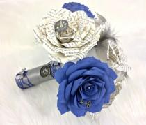 wedding photo -  Steampunk Book Page Bouquet - Paper book bouquet - Paper rose keepsake bouquet - Navy blue wedding bouquet with matching boutonniere option - $68.75 USD