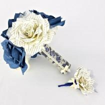 wedding photo -  Book page bridal bouquet - Paper book bouquet - Paper rose keepsake bouquet - Navy blue wedding bouquet with matching boutonniere option - $68.75 USD