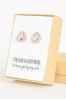 wedding photo - Cubic Zirconia / Rose Gold Teardrop Stud Earrings - Crystal And Rose Gold - Rose Gold Bridesmaid Earrings Wedding Jewelry -Bridal