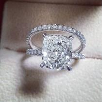 """wedding photo - DIAMOND MANSION On Instagram: """"Royalty ♡ 4.70 Ct Cushion Cut Bridal Set ~~~~~~~~~~~~~ GIA Certified I/VS2 Polish: Excellent Symmetry: Excellent Luster: Excellen Metal:…"""""""