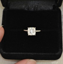 wedding photo - 7 Mm Cushion Cut Forever Brilliant Moissanite Solitaire Engagement Ring On 14K White Gold