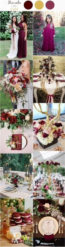 wedding photo - Burgundy and Gold Wedding