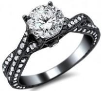 wedding photo - 1.58ct Round Pave Diamond Engagement Ring 14k Black Gold