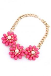 wedding photo - Candy Color Floral Bib Necklace - OASAP.com
