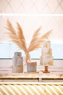 wedding photo - Modern Wedding Inspiration With A Pampas Grass Chandelier