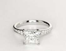 wedding photo - 2.10 CT Princess Cut E/VVS1 Engagement Rings 925 Solid Sterling Silver Jewelry