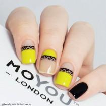 wedding photo - Black & Yellow Nail Art