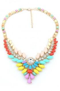 wedding photo - Rhinestone Color Block Bib Necklaces - OASAP.com