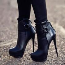 wedding photo - Black Patchwork Buckle Extreme High Heel Ankle Boots
