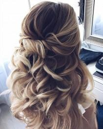 wedding photo - Half Up Half Down Waves Hairstyle – Partial Updo Wedding Hairstyle Ideas