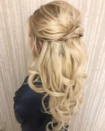 wedding photo - Pretty Half Up Half Down Wedding Hairstyle – Partial Updo Bridal Hairstyle Ideas