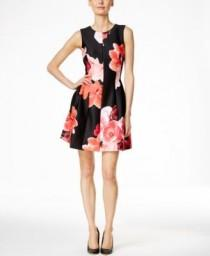 wedding photo - Calvin Klein Floral-Print A-Line Dress - Calvin Klein Dresses - Women - Macy's
