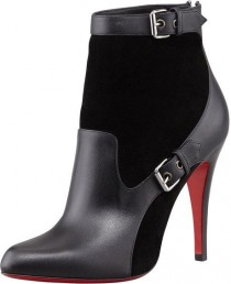 wedding photo - Christian Louboutin Black Canassone Buckled Suedeleather Bootie