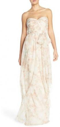 wedding photo - Women's 'Nyla' Floral Print Convertible Strapless Chiffon Gown