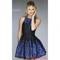 wedding photo - Short Open Back Black Print Dress by Sherri Hill - Discount Evening Dresses