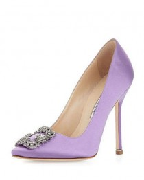wedding photo - Manolo Blahnik Hangisi Satin Crystal-Toe Pump, Lavender - $169.00 : Christian Louboutin Shoe Outlet,Jimmy Choo Shoe Outlet Sale Online,best Quality!