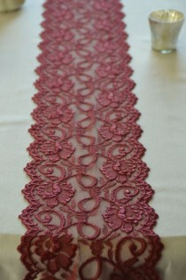 "wedding photo - Burgundy / Wine Lace Trim 7"" Wide  By 1 Yard Lace Table Runner Lace Apparel Lace DIY Wedding"