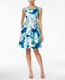 wedding photo - Jessica Howard Sleeveless Belted Floral-Print Fit & Flare Dress - Dresses - Women - Macy's