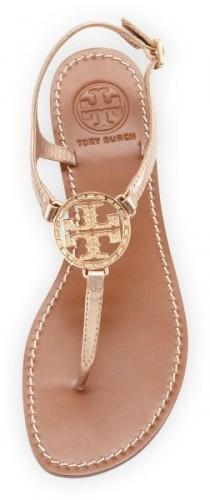 wedding photo - Tory Burch Gold Violet Logo Thong Sandal Rose Gold