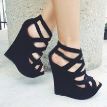 wedding photo - Angel Style (Suede Cut-Outs Wedge )