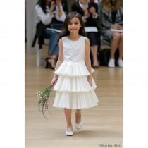 wedding photo - Oscar de la Renta Spring/Summer 2018 Ruffle Ivory Aline Satin Vogue Scoop Neck Sleeveless Flowergirl Dress - Top Design Dress Online Shop