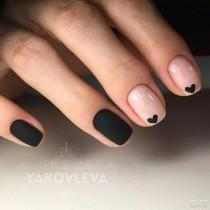 wedding photo - Tiny Black Hearts Nail Art