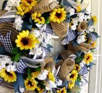 wedding photo - Weekend FLASH SALE Sunflower Wreath, Summer, Front Door Decor, Burlap, Sunflower Wedding, Farmhouse Decor, Country Home, Indoor Outdoor Wall