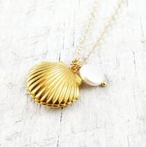 wedding photo - Shell Locket Necklace Gold Shell Necklace Ocean Nautical Pendant Pearl Summer Wedding Beach Mermaid