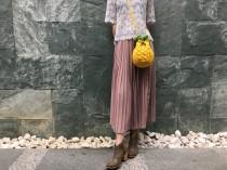 wedding photo - FREE SHIPPING,Pineapple Cross-Body Bag, Paper Yarn Crochet Shoulder Bag,Fruit Bag,Handknit Shoulder Bag,Crochet Crossbody Bag