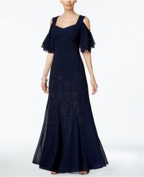 wedding photo - R & M Richards Embellished Cold-Shoulder Gown