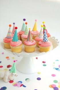 wedding photo - 12 mini party hat cupcake toppers - brights