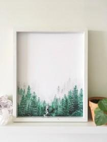 wedding photo - Forest Print, Nature Print, Forest Art, Nature Art, Forest Painting, Landscape Painting, Tree Art, Forest Artwork, Evergreen, Landscape Art