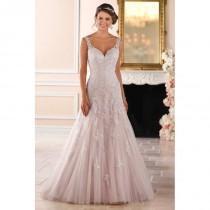 wedding photo - Stella York Style 6401 by Stella York - Ivory  White  Blush Lace  Tulle Illusion back Floor Wedding Dresses - Bridesmaid Dress Online Shop