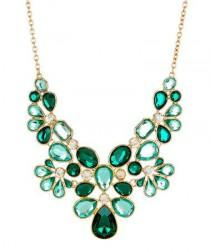 wedding photo - Green & Gold Crystal Makeda Stone Bib Necklace