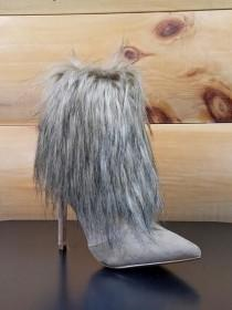 "wedding photo - Cape Mini Furry Ankle Boot Pointy Toe FX Fur 4"" Heel Nude Beige"