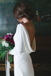 wedding photo - Cowl Neck Low Back With Sleeve Wedding Dress Inspiration