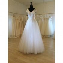 wedding photo - V-Line Neck Wedding dress - High Quality - Custom Made to Fit - Hand-made Beautiful Dresses