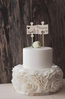 wedding photo - Wood Puzzle Piece Cake Topper - Wedding Cake Flags - Best Day Ever - Wooden Cake Topper - Rustic Wedding Cake Topper - Cake Topper