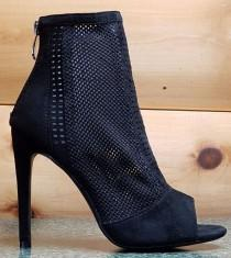"wedding photo - Cape Robbin Elenora 25 Black Ankle Boot 5"" Heel Weave Fabric Peep Toe 5.5 - 10"