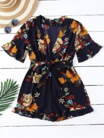 wedding photo - Bell Sleeve Floral Plunging Neck Romper