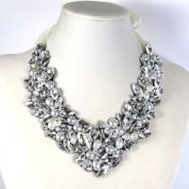 wedding photo - Statement Necklace Bridal Swarovski Crystal Vintage Bib Wedding Necklace