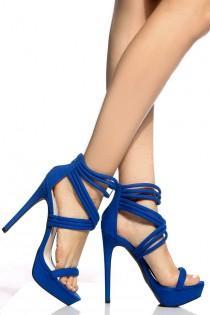 wedding photo - Cobalt Faux Suede Cross Strap Platform Heels @ Cicihot Heel Shoes Online Store Sales:Stiletto Heel Shoes,High Heel Pumps,Womens High Heel Shoes,Prom Shoes,Summer Shoes,Spring Shoes,Spool Heel,Womens Dress Shoes