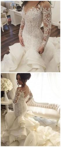 wedding photo - Vestido De Noiva Vintage Wedding Dresses With Sheer Long Sleeves Mermaid Appliques Lace Tulle Vestido Longo Bridal Gowns