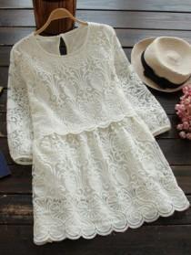 wedding photo - Double-V Lace Up Denim Dress
