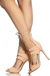wedding photo - Blush Faux Nubuck Lace Up Single Sole Heels @ Cicihot Heel Shoes Online Store Sales:Stiletto Heel Shoes,High Heel Pumps,Womens High Heel Shoes,Prom Shoes,Summer Shoes,Spring Shoes,Spool Heel,Womens Dress Shoes